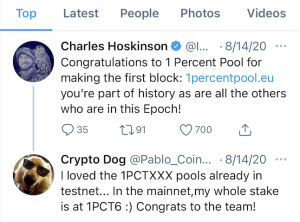 Charles via Twitter congratulating 1PCT for producing the first ADA block ever on Cardano